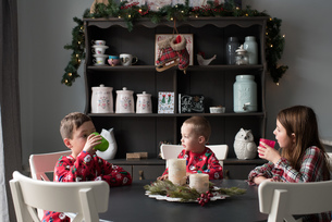 Siblings at dining table drinking from plastic cupsの写真素材 [FYI03573807]