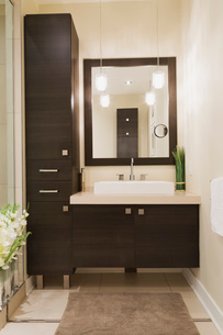 Contemporary brown laminated wood vanity with mirror in bathroom of renovated ground floor apartmentの写真素材 [FYI03574466]