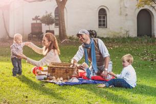 Family having picnic in parkの写真素材 [FYI03574705]