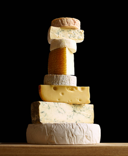 Stack of selection of cheeses, against black backgroundの写真素材 [FYI03575951]