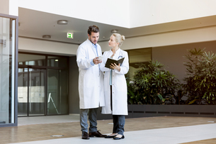 Two doctors having discussion, holding smartphone and diaryの写真素材 [FYI03575965]
