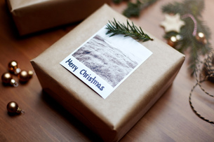Gift wrapped in brown paper and decorated with fern and note reading Merry Christmasの写真素材 [FYI03576581]