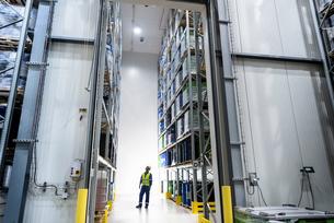 Worker with oil barrels in storage in oil blending factoryの写真素材 [FYI03577005]