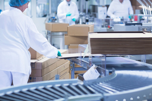 Workers packaging pharmaceutical products on production line in pharmaceutical plantの写真素材 [FYI03577737]