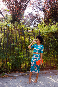 Young female fashion blogger with afro hair waiting on park sidewalk, New York, USAの写真素材 [FYI03579879]