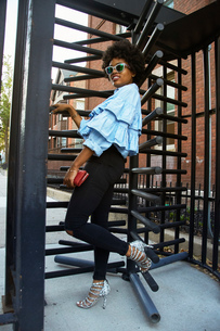 Portrait of young female fashion blogger by rotating gate, New York, USAの写真素材 [FYI03579883]