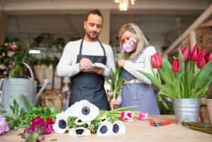 Two florists in flower shop, preparing flower orderの写真素材 [FYI03581367]