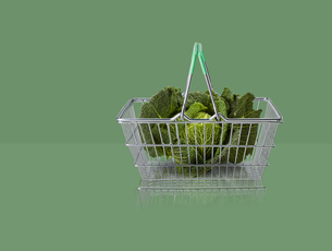 Green cabbage in miniature shopping basket on green backgroundの写真素材 [FYI03581690]