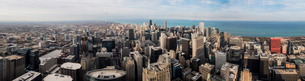 View of Chicago from the Skydeck, panoramic view, Chicago, Illinois, USAの写真素材 [FYI03582080]