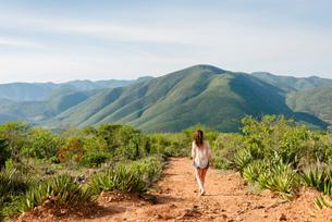 Woman walking along dirt pathway, rear view, Hierve el Agua, Oaxaca, Mexico.の写真素材 [FYI03582118]