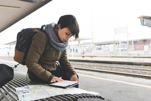 Female backpacker looking at map and digital tablet on railway platformの写真素材 [FYI03582687]