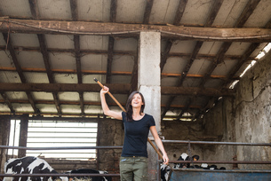 Female organic farmer with pitch fork over her shoulder on dairy farmの写真素材 [FYI03582769]