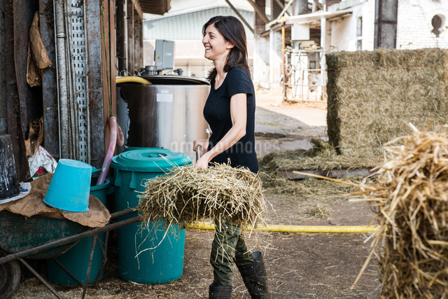 Female organic farmer with pitch fork of hay on dairy farmの写真素材 [FYI03582771]