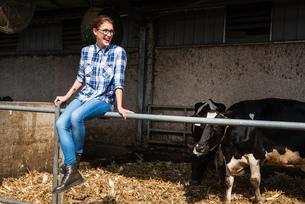 Female farmer sitting on fence at organic dairy farmの写真素材 [FYI03582779]