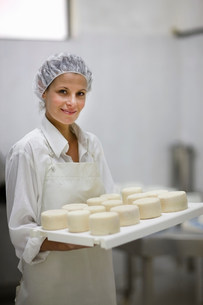 Worker at a cheese dairyの写真素材 [FYI03583001]