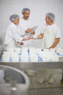 Worker at a cheese dairyの写真素材 [FYI03583002]