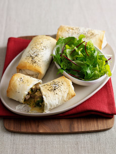 Plate of baked pastry rolls with saladの写真素材 [FYI03584344]