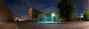 Panorama of city street at nightの写真素材 [FYI03585386]