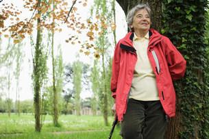 Older woman walking in parkの写真素材 [FYI03585465]