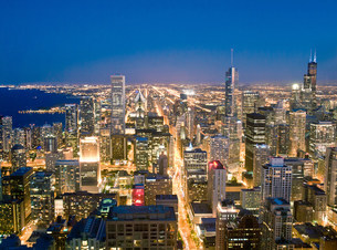 View of Downtown Chicago, Illinois, USAの写真素材 [FYI03585800]