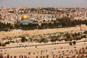 View of Temple Mount from Mount Zion, Jerusalem, Israelの写真素材 [FYI03585961]