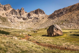 Landscape with boulder in mountain valley, Nahuel Huapi National Park, Rio Negro, Argentinaの写真素材 [FYI03590188]