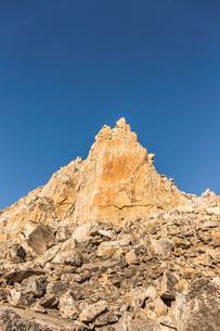 Mountain pinnacle and blue sky, Nahuel Huapi National Park, Rio Negro, Argentinaの写真素材 [FYI03590192]
