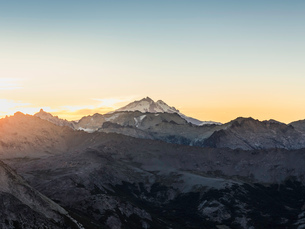 View of Mount Tronador in Andes mountain range at sunset, Nahuel Huapi National Park, Rio Negro, Argの写真素材 [FYI03590195]