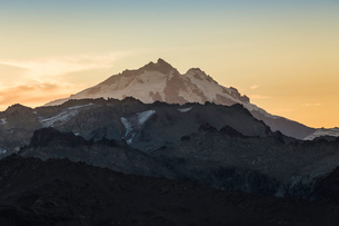 View of Mount Tronador in Andes mountain range at sunset, Nahuel Huapi National Park, Rio Negro, Argの写真素材 [FYI03590197]