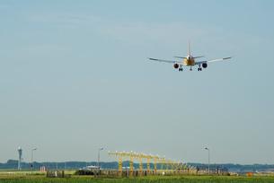 Airplane landing, Schiphol, North Holland, Netherlands, Europeの写真素材 [FYI03590228]