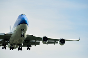 Low angle view of airplane taking off, Schiphol, North Holland, Netherlands, Europeの写真素材 [FYI03590230]