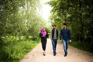 Friends walking on pathway in parkの写真素材 [FYI03590689]