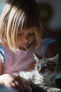 Girl holding kittenの写真素材 [FYI03590776]