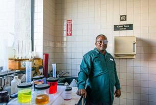 Portrait of lab technician in biofuel plant laboratoryの写真素材 [FYI03590820]