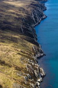 Aerial view of West Falkland island, Port Stanley, Falkland Islands, South Americaの写真素材 [FYI03590950]