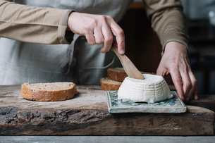 Woman slicing whole ricotta, slice of bread on chopping board, mid sectionの写真素材 [FYI03591437]