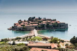 Sveti Stefan Island, Abzi-Kula, Montenegro, Europeの写真素材 [FYI03592238]