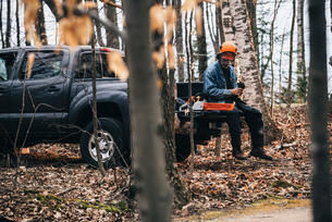 Male logger sitting on pick-up truck holding protective gloves in autumn forestの写真素材 [FYI03593493]