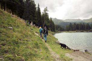 Couple with dog hiking by lake, Tirol, Steiermark, Austria, Europeの写真素材 [FYI03593972]