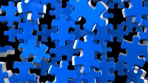 Blue Jigsaw Puzzle On Black Backgroundのイラスト素材 [FYI03594345]