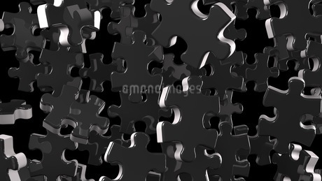 Black Jigsaw Puzzle On Black Backgroundのイラスト素材 [FYI03594471]
