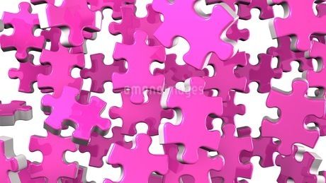 Pink Jigsaw Puzzle On White Backgroundのイラスト素材 [FYI03594601]