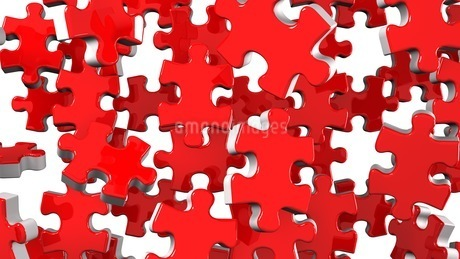 Red Jigsaw Puzzle On White Backgroundのイラスト素材 [FYI03594696]