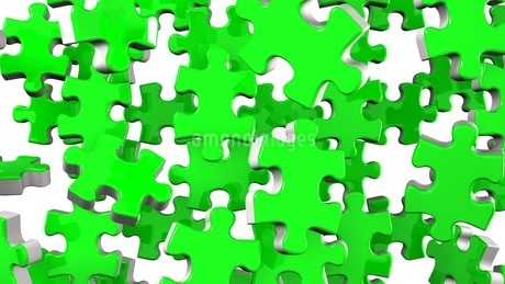 Green Jigsaw Puzzle On White Backgroundのイラスト素材 [FYI03595128]