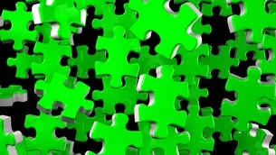 Green Jigsaw Puzzle On Black Backgroundのイラスト素材 [FYI03595219]