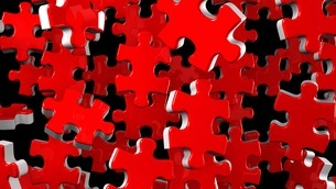 Red Jigsaw Puzzle On Black Backgroundのイラスト素材 [FYI03595290]