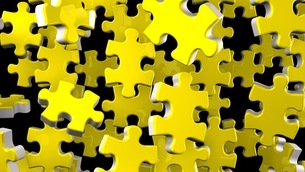 Yellow Jigsaw Puzzle On Black Backgroundのイラスト素材 [FYI03595410]