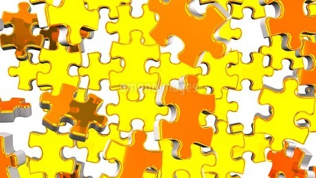 Golden Jigsaw Puzzle On White Backgroundのイラスト素材 [FYI03595480]