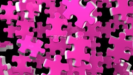 Pink Jigsaw Puzzle On Black Backgroundのイラスト素材 [FYI03595541]