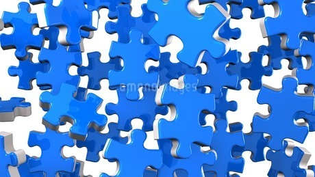 Blue Jigsaw Puzzle On White Backgroundのイラスト素材 [FYI03595591]